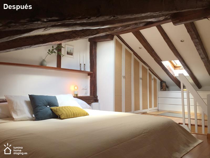 Dormitorio arriba 1 después. Este dormitorio gana con la elección de colores y sus detalles