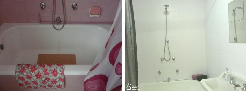 ¿El primer baño te da aversión? A nosotros también. En cambio, en la foto de después se ve las posibilidades que tiene este baño sin tener que remplazar todos los sanitarios.