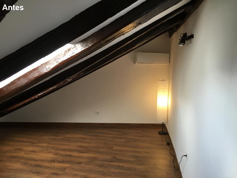 Dormitorio con poco espacio
