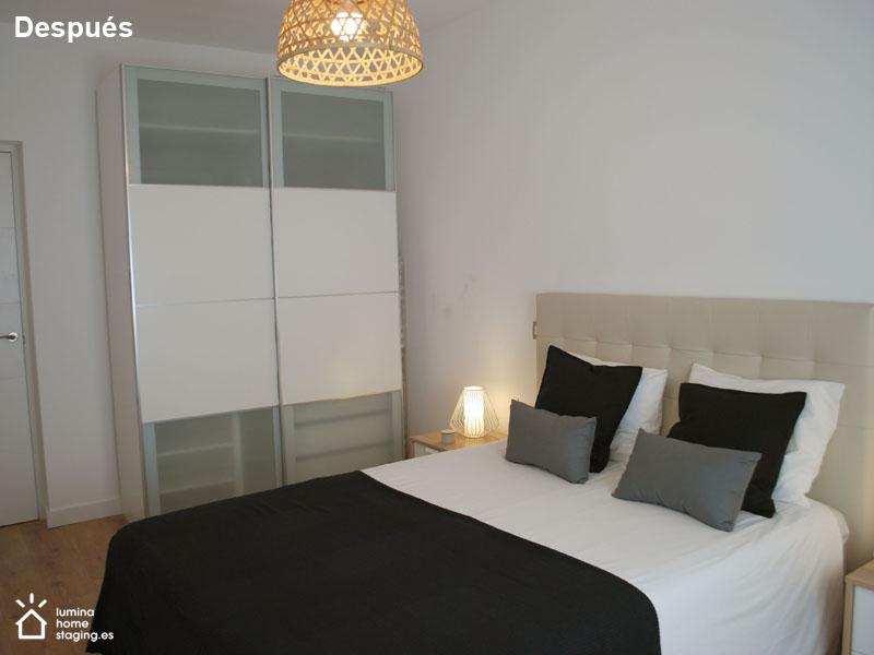 Dormitorio principal después. La imagen refleja el cuidado, orden y atractivo, claves para vender.