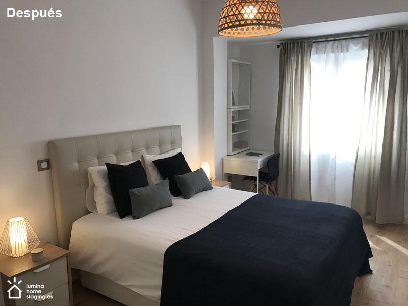 Dormitorio principal después. La diferencia con el Antes, es que el dormitorio se ve más cálido si lo vistes como se merece