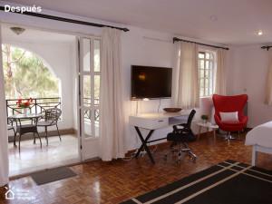 Colocar cada mueble en su sitio y tener la perspectiva para mostrar el encanto de esta habitación