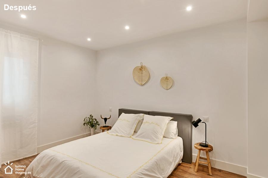 Dormitorio principal después. Importante mostrar el espacio que hay